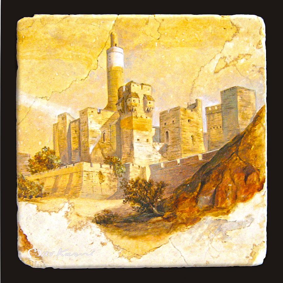 Judaica Painting - Tower Of David by Miki Karni