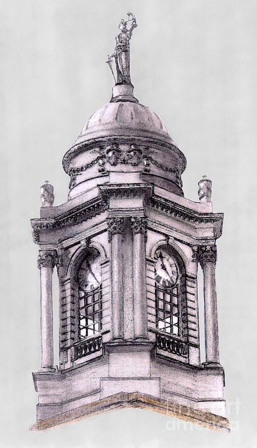 New York Drawing - Tower Over City Hall New York City by Gerald Blaikie