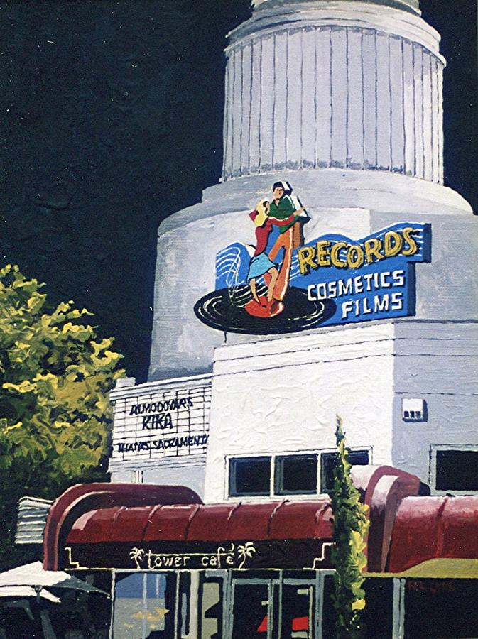 Sacramento Painting - Tower Records by Paul Guyer