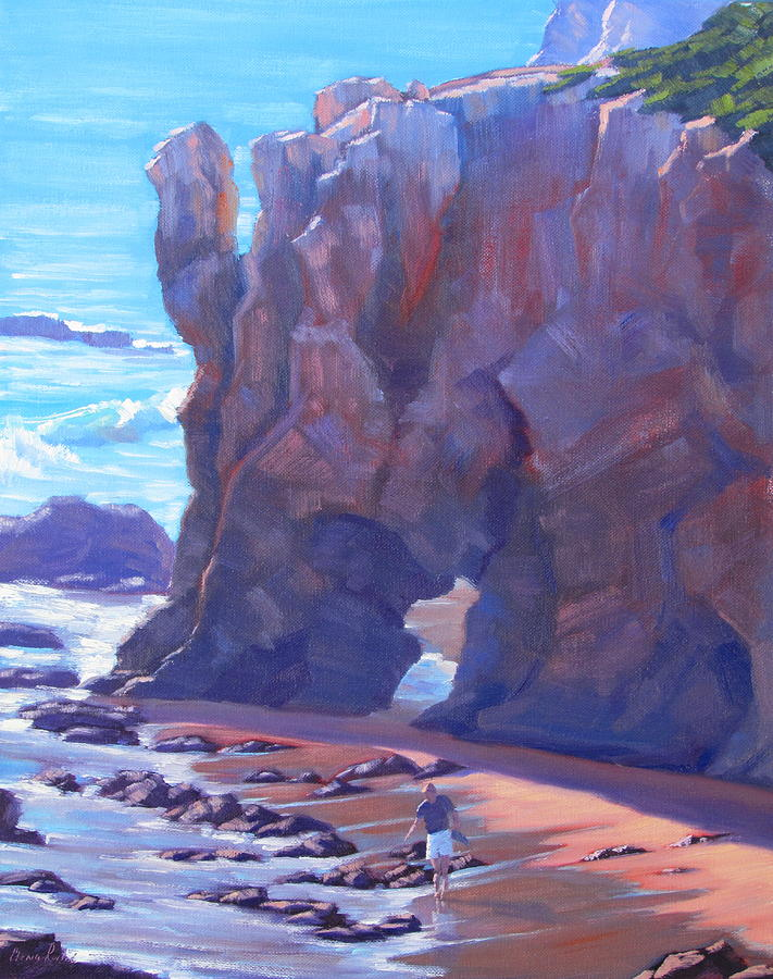 California Seascape Painting - Towering El Matador Plein Air Painting by Elena Roche