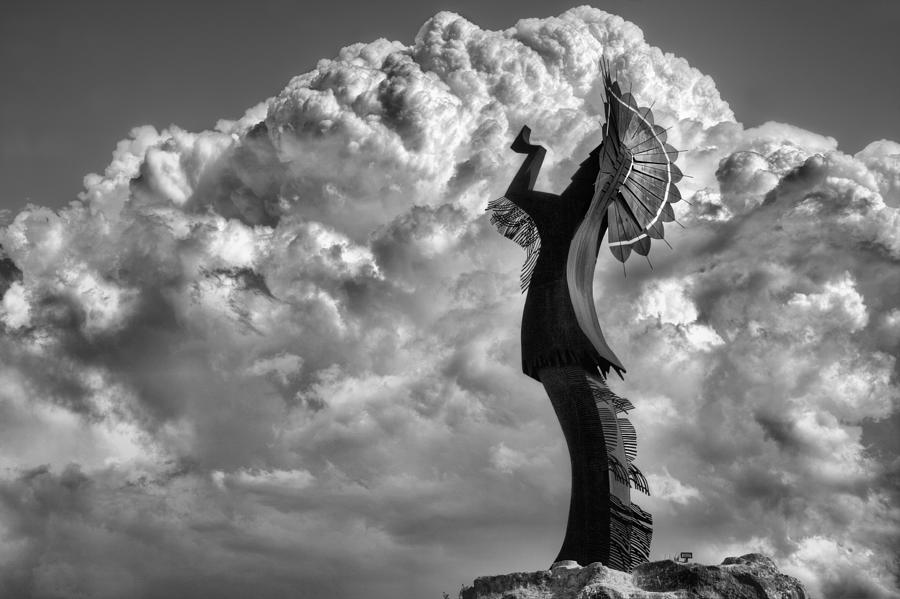 The Keeper Of The Plains Photograph - Towering Over Wichita Bw by JC Findley