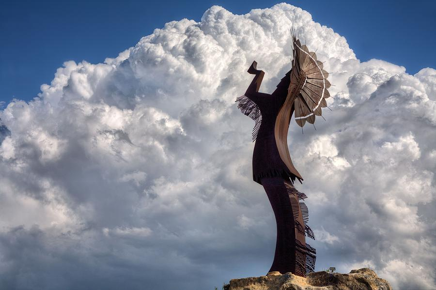 The Keeper Of The Plains Photograph - Towering Over Wichita by JC Findley