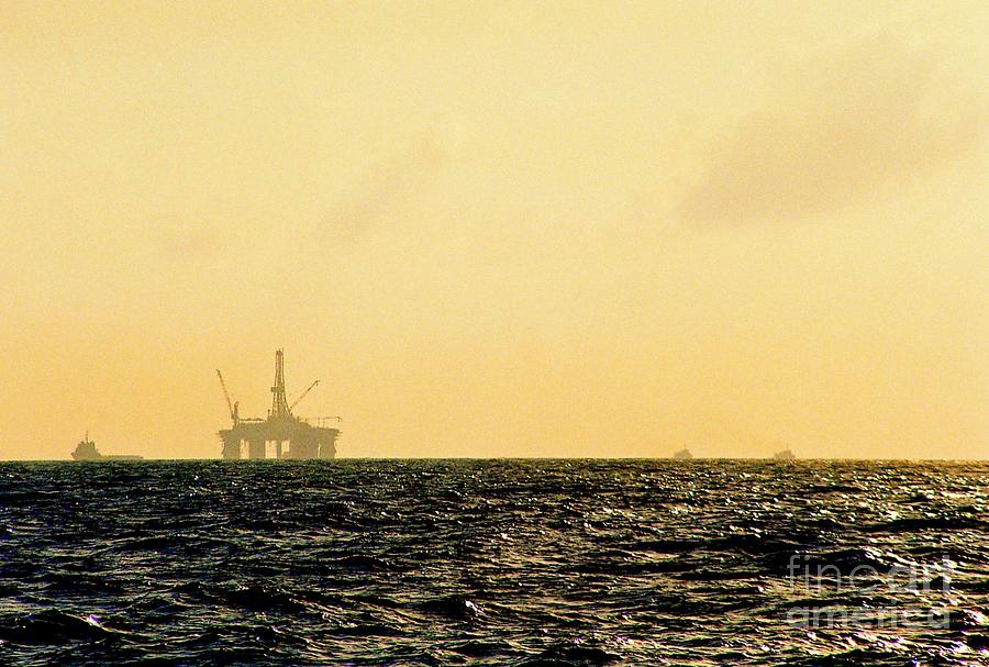 Offshore Oil Platform Framed Prints Photograph - Towing A Platform In The Gulf Of Mexico Off The Coast Of Louisiana by Michael Hoard