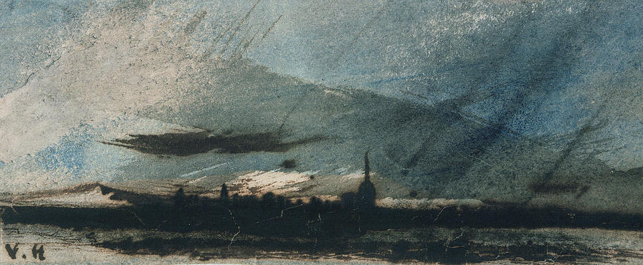 Landscape Painting - Town At Dusk by Victor Hugo