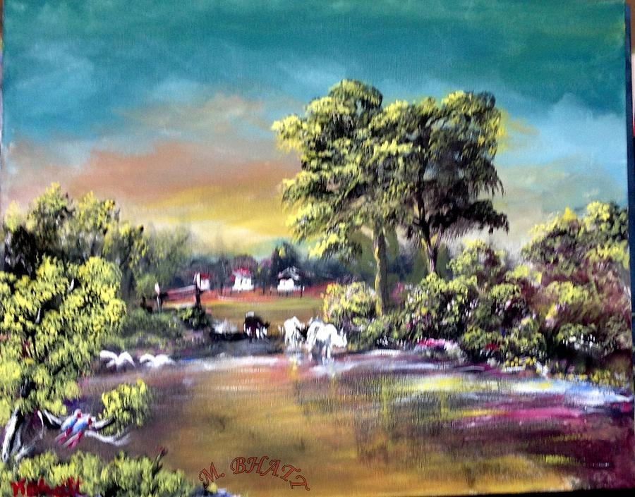 Nature Painting - Town Corner by M bhatt