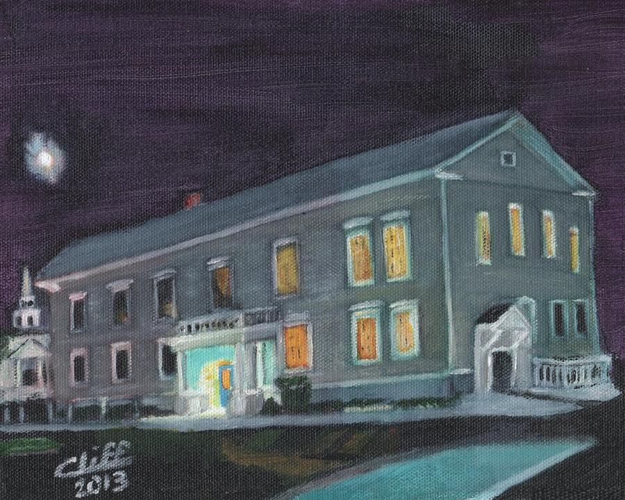 Town Hall At Night Painting