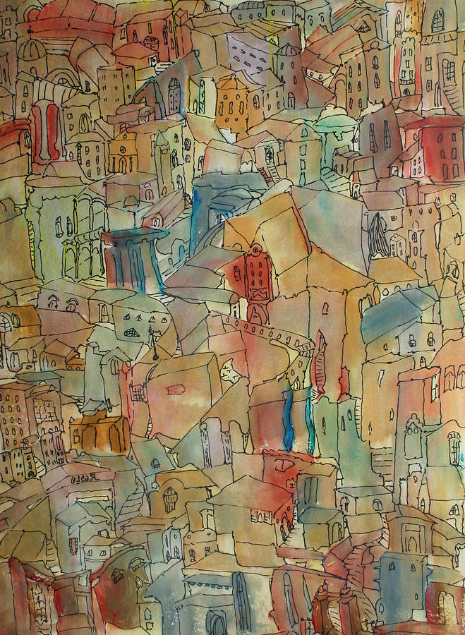 Cityscapes Painting - Town I by Oscar Penalber