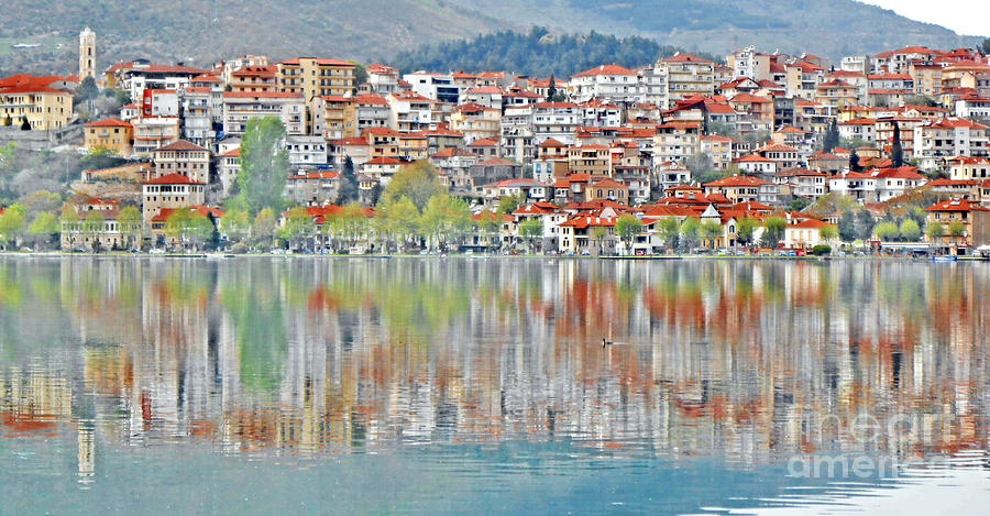 Lake Photograph - Town Reflected by Ioanna Papanikolaou