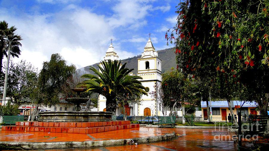 Town Photograph - Town Square In Penipe Ecudor by Al Bourassa