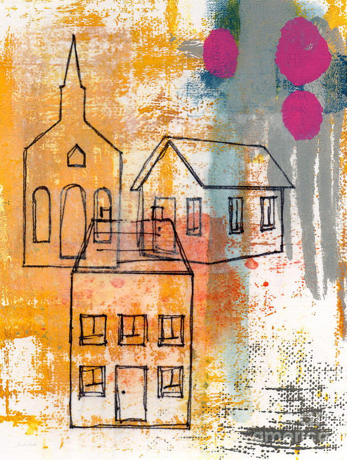 Abstract Painting - Town Square by Linda Woods