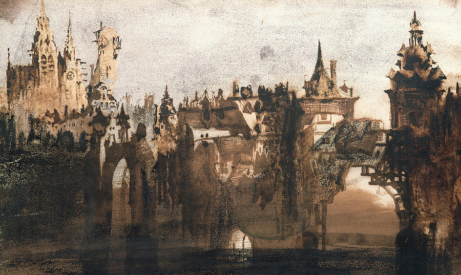 Victor Hugo Painting - Town With A Broken Bridge by Victor Hugo