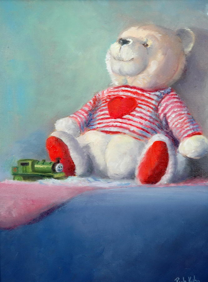 White Painting - Toy Bear #1 by Rich Kuhn