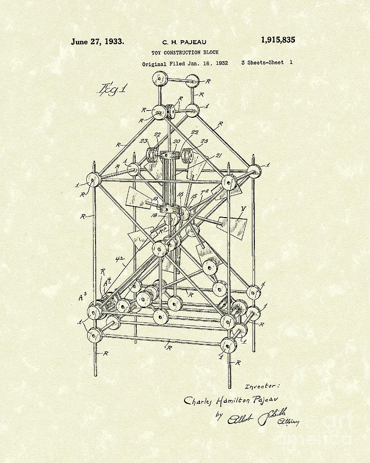 1933 Drawing - Toy Blocks 1933 Patent Art by Prior Art Design
