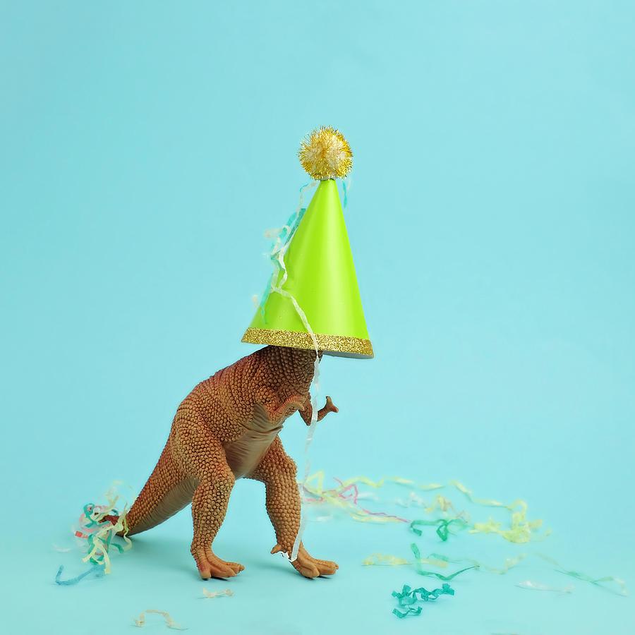 Toy Dinosaur Wearing A Party Hat Photograph by Juj Winn