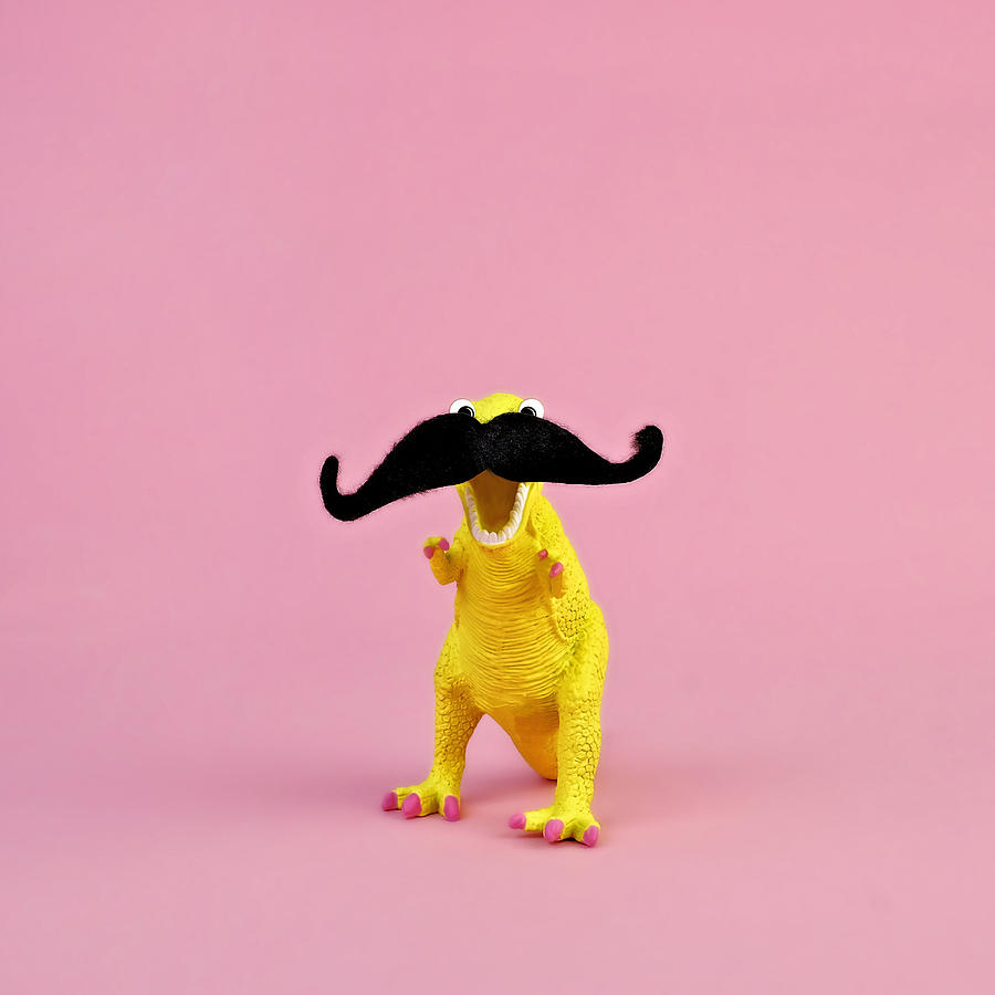 Costume Photograph - Toy Dinosaur With Mustache by Juj Winn