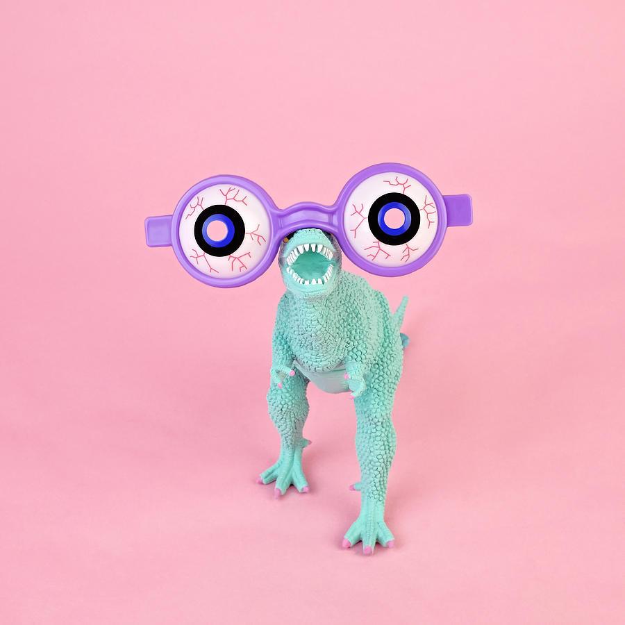 Toy Dinosaur With Spooky Glasses Photograph by Juj Winn