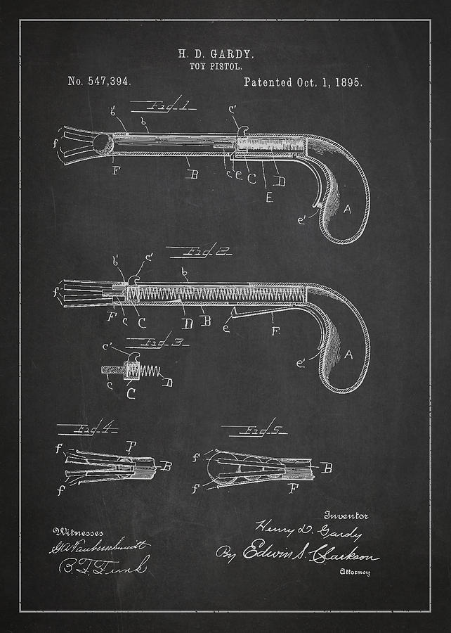 Revolver Digital Art - Toy Pistol Patent Drawing From 1895 by Aged Pixel