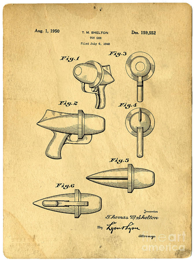 Gun Photograph - Toy Ray Gun Patent by Edward Fielding