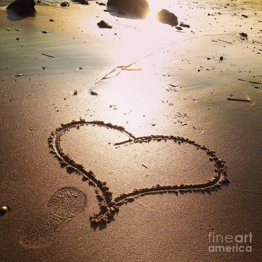 Heart Photograph - Tracks Of Love In The Sand by Stephanie  Varner