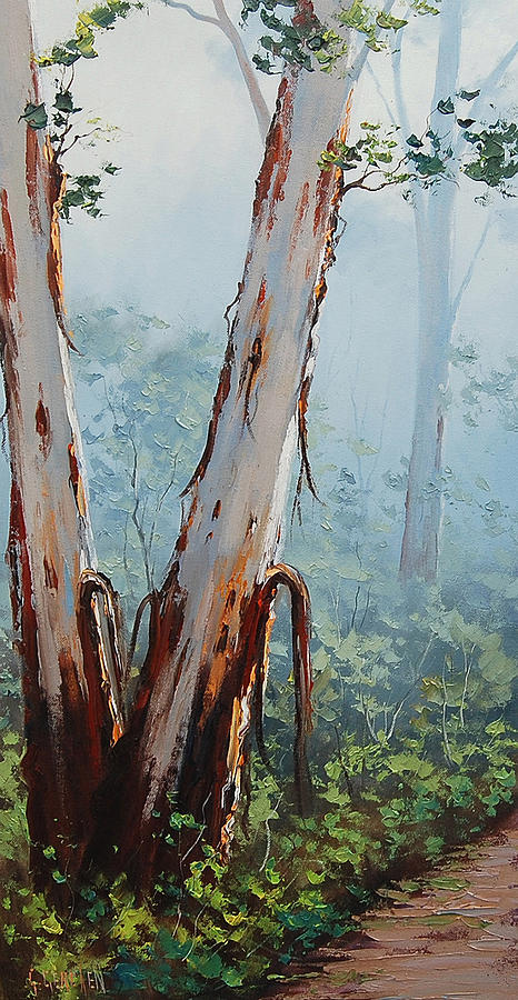 River Painting - Trackside Gums Lithgow by Graham Gercken