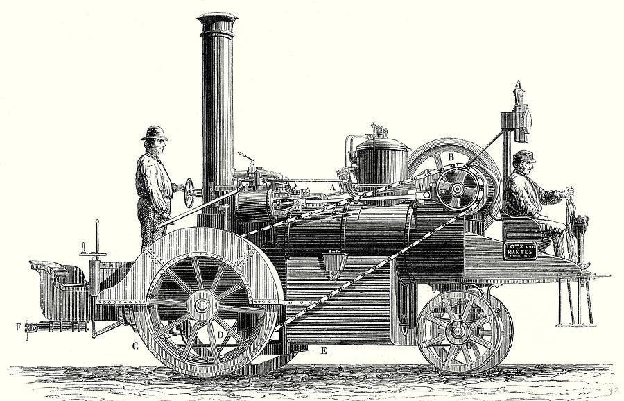 Traction Engine Or Steam Car Invented By M Drawing by M. Lotz, 19th ...
