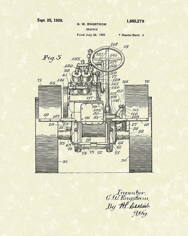 1928 Drawing - Tractor 1928 Patent Art by Prior Art Design