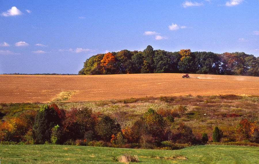 Tractor Photograph - Tractor After The Harvest by Jerry Tompkins