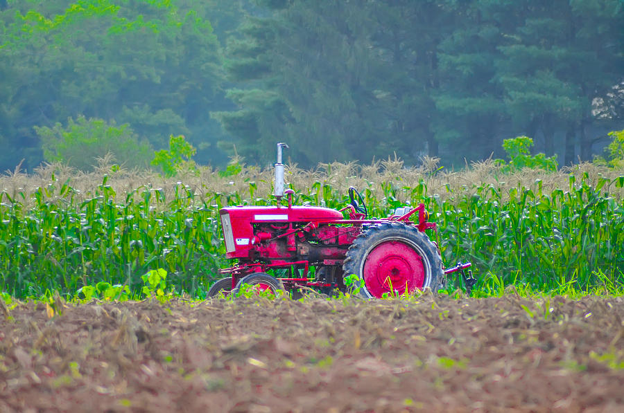 Tractor Photograph - Tractor In A Corn Field by Bill Cannon