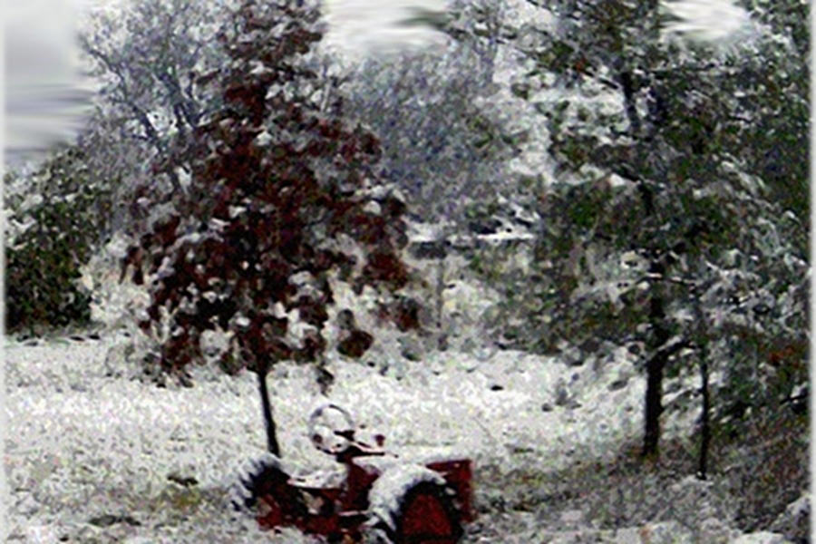 Antique Tractor Digital Art - Tractor In The Snow by Dennis Buckman