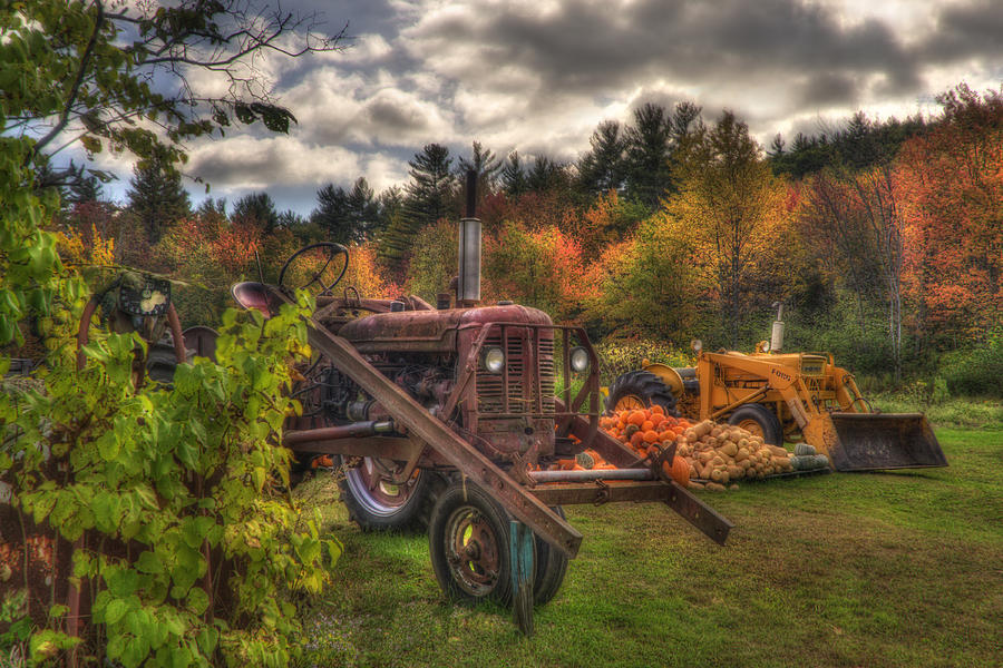 Autumn In New England Photograph - Tractors And Pumpkins by Joann Vitali