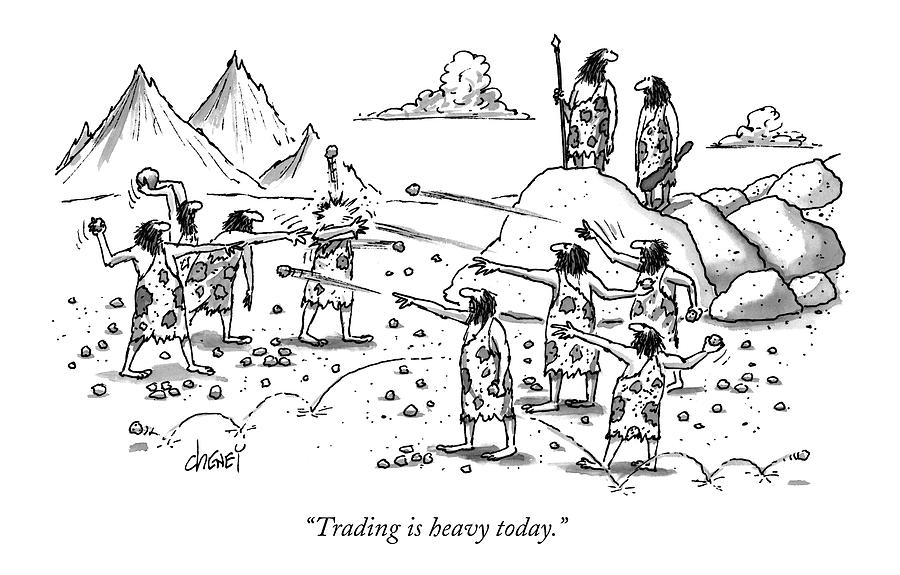 Trading Is Heavy Today Drawing by Tom Cheney