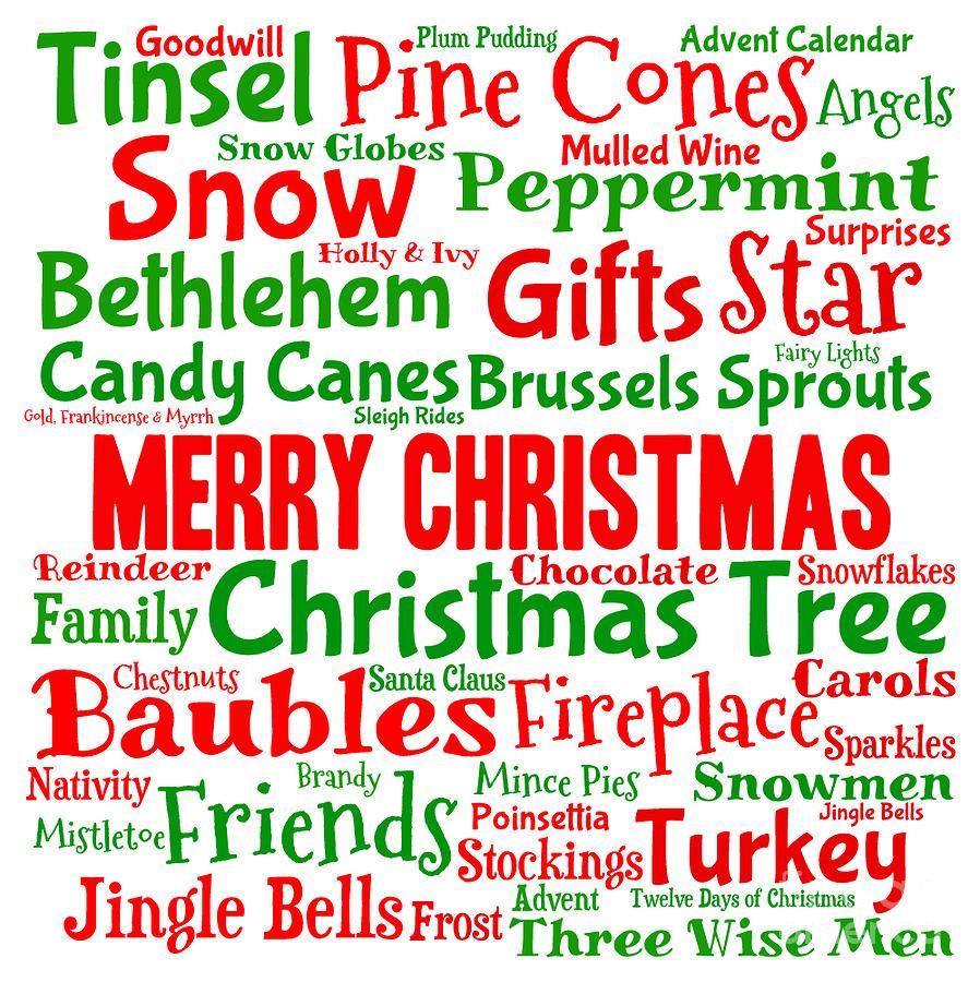 Christmas Words.Traditional Christmas Words