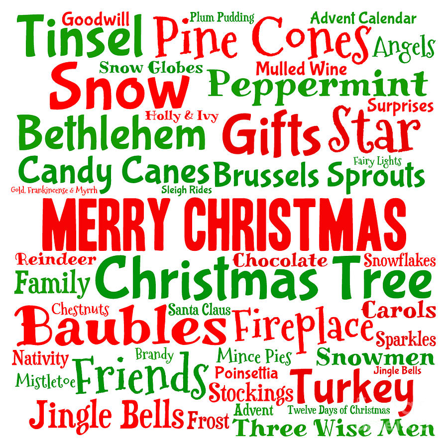 traditional christmas words digital art by annalisa cromie
