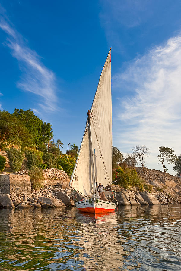 River Nile Photograph - Traditional Egyptian Sailboat On The Nile by Mark E Tisdale
