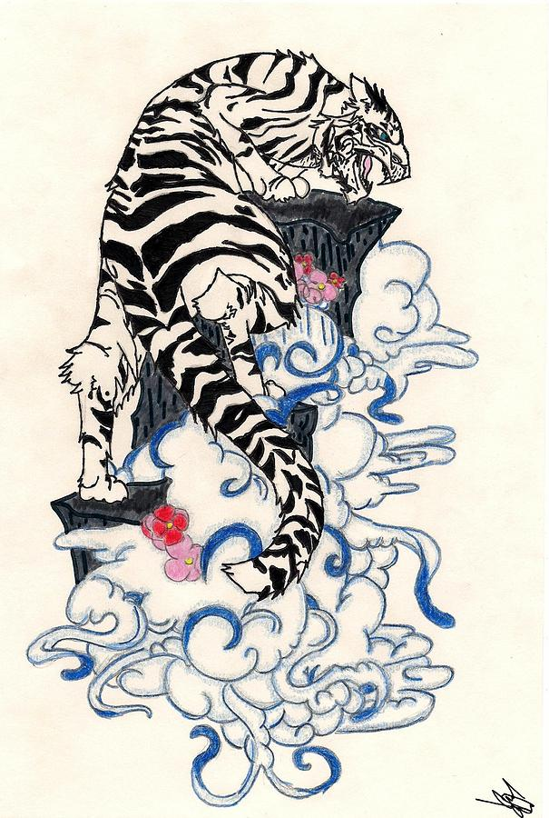 Traditional Japanese Style Tiger Drawing by Crisol Campos