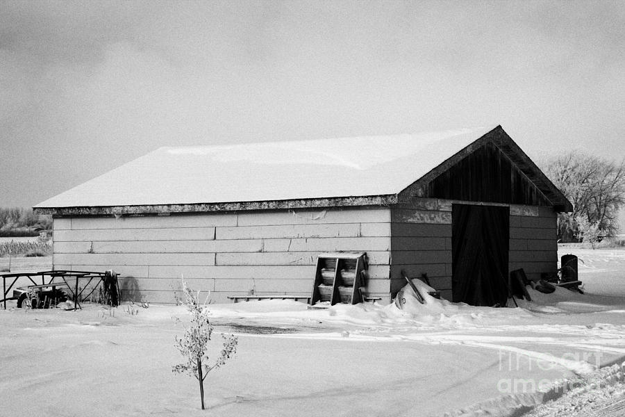 Property Photograph - traditional wooden plank barn in rural village Forget Saskatchewan Canada by Joe Fox