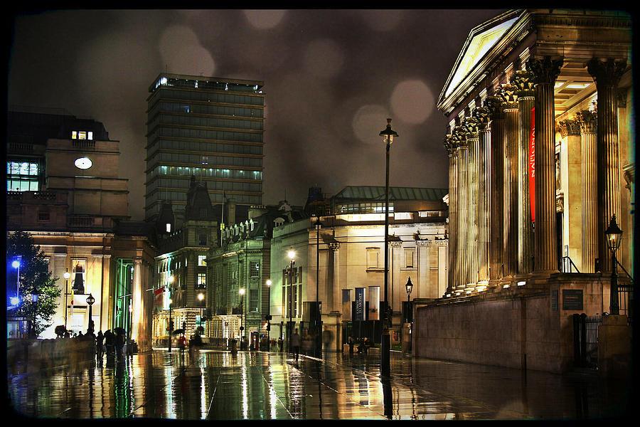 London Photograph - Trafalgar Square Rain by Heidi Hermes