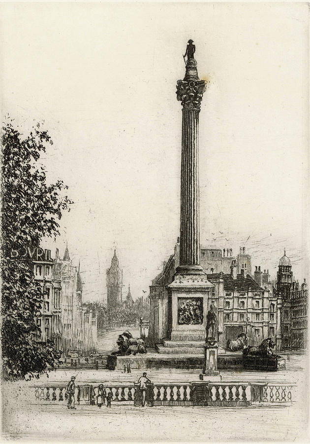 Trafalgar Drawing - Trafalgar Square, With Big Ben by Mary Evans Picture Library