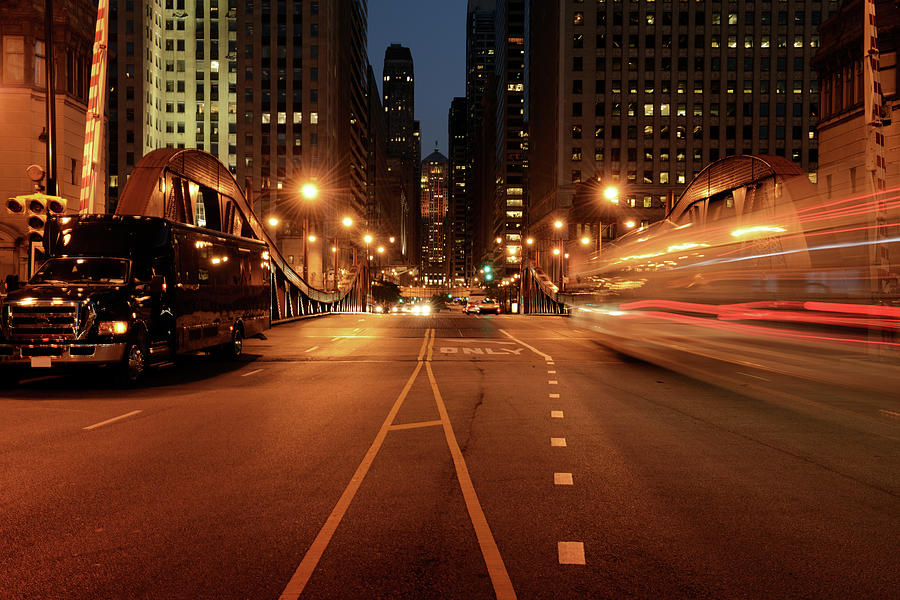 Traffic In The Night,chicago Downtown Photograph by Lisa-blue