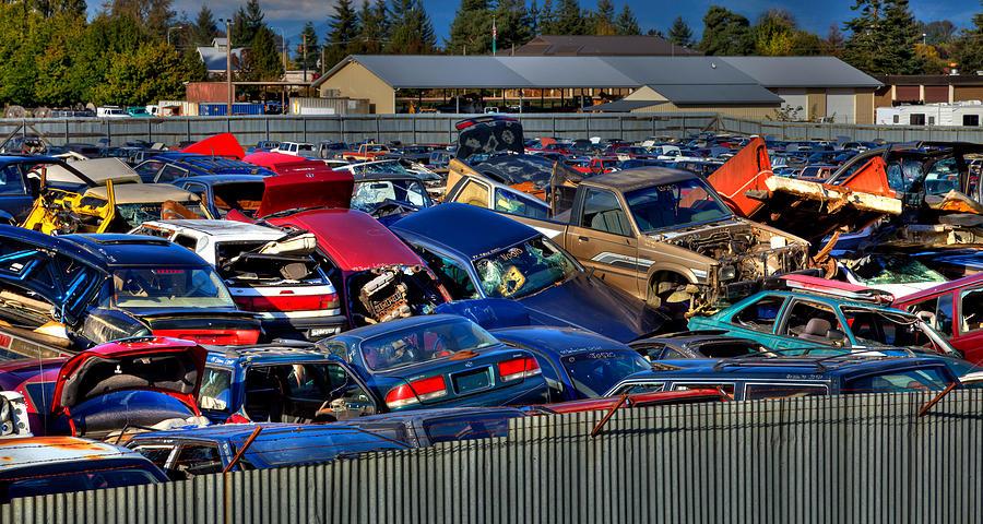 Auto Wrecking Photograph - Traffic Jam - Ferrells Auto Wrecking by David Patterson