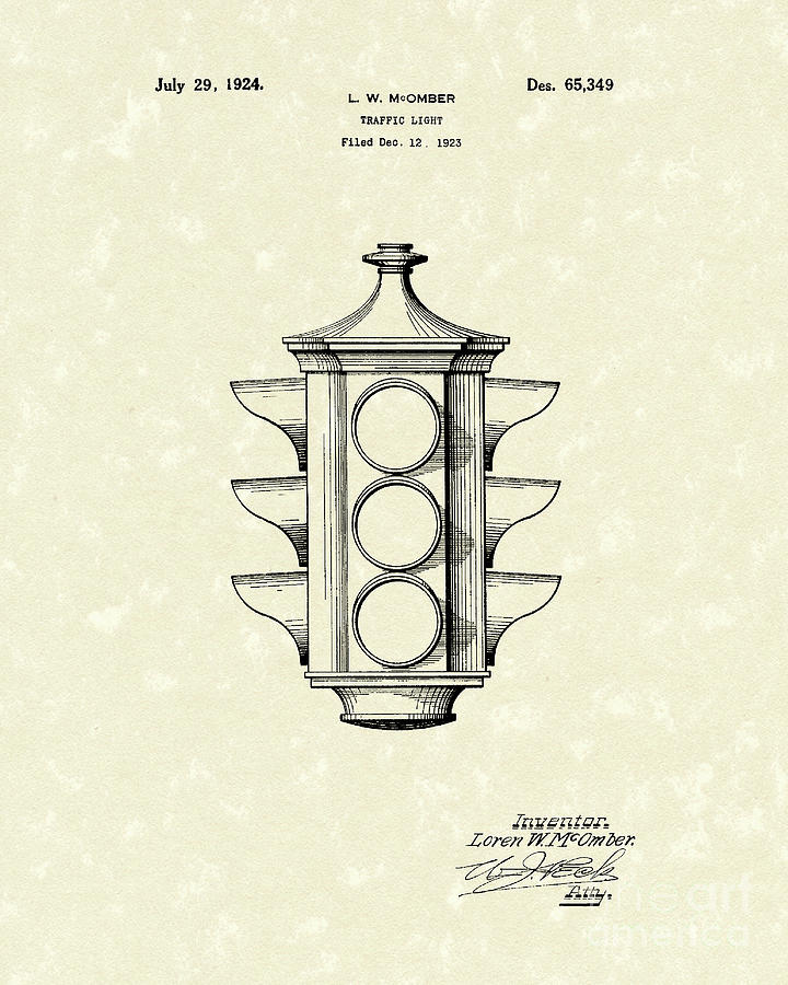 1924 Drawing - Traffic Light 1924 Patent Art by Prior Art Design