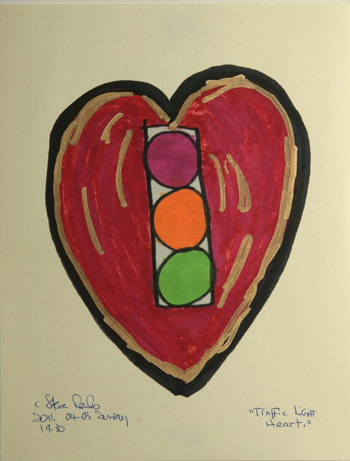 Traffic Light Heart Drawing by Steve Renko
