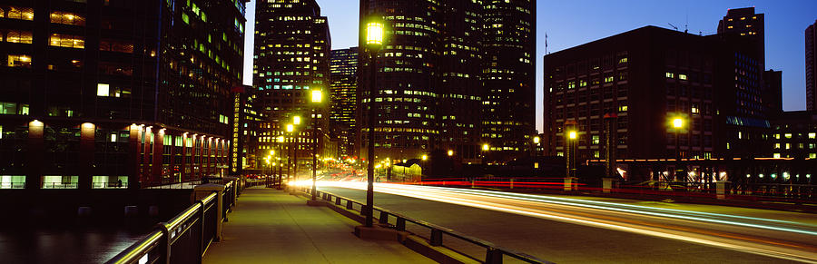 Color Image Photograph - Traffic On A Bridge In A City, Northern by Panoramic Images