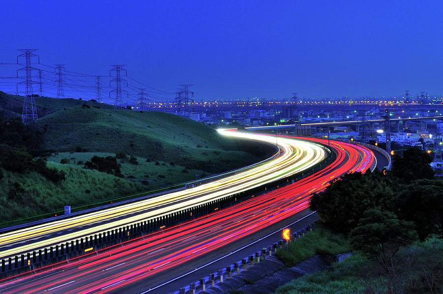 Traffic Trails At High Way Photograph by Photo By Vincent Ting