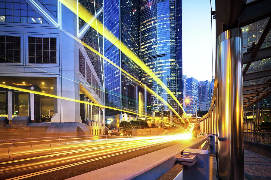 Traffic Trough Hong Kong Photograph by Nikada