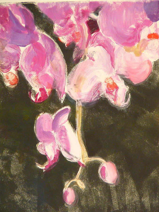 Monotype Painting - Trailing Phal by Valerie Lynch