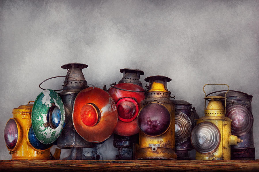 Lantern Photograph - Train - A Collection Of Rail Road Lanterns  by Mike Savad