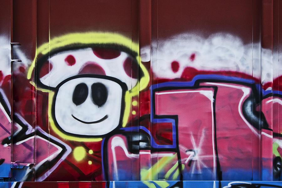 Graffiti Photograph - Train Art Cartoon Face by Carol Leigh