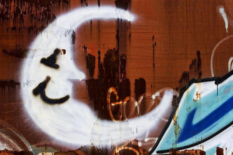Graffiti Photograph - Train Art Man In The Moon by Carol Leigh