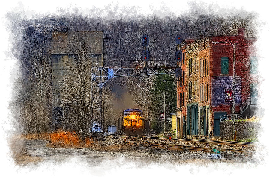 Train Photograph - Train At Thurmond Wv by Dan Friend